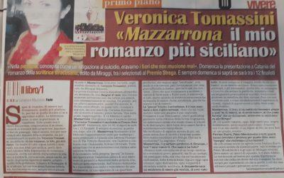 """Veronica Tomassini """"Mazzarrona il mio romanzo più siciliano"""" di Salvatore Massimo Fazio su Vivere"""